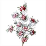 Větvička vánoční bobule 85cm zasněžená - velkoobchod, dovoz květin, řezané květiny Brno