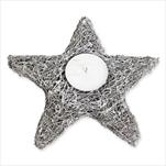 Svícen hvězda proutí 25cm šedá - velkoobchod, dovoz květin, řezané květiny Brno