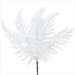 Kapradí vánoční pvc 6ks/42cm bílá třpytky - velkoobchod, dovoz květin, řezané květiny Brno
