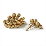 Větvička bobule přízdoba pvc 4ks/6cm zlatá - velkoobchod, dovoz květin, řezané květiny Brno