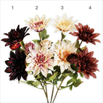 Jiřina umělá 3květ 65cm mix - velkoobchod, dovoz květin, řezané květiny Brno