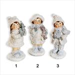 Figurka vánoční polyresin 10cm bílá mix - velkoobchod, dovoz květin, řezané květiny Brno
