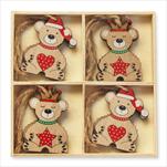 Medvěd závěs dřevo 8ks/6cm mix - velkoobchod, dovoz květin, řezané květiny Brno