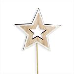 Hvězda zápich dřevo 2ks/20cm natural/bílá - velkoobchod, dovoz květin, řezané květiny Brno