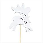 Jelen zápich dřevo 2ks 8/15cm bílá - velkoobchod, dovoz květin, řezané květiny Brno