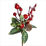 Větvička vánoční pvc 23cm zelená/červená - velkoobchod, dovoz květin, řezané květiny Brno