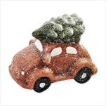 Auto vánoční keramika 6,5cm hnědá - velkoobchod, dovoz květin, řezané květiny Brno