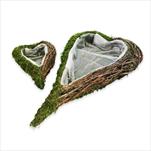 Srdce obal mech/proutí 2ks/44cm natural - velkoobchod, dovoz květin, řezané květiny Brno