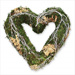 Srdce seno/proutí 25cm natural - velkoobchod, dovoz květin, řezané květiny Brno