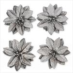 Poinsettia květ textil 4ks/6cm stříbrná - velkoobchod, dovoz květin, řezané květiny Brno