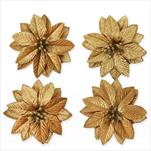 Poinsettia květ textil 4ks/10cm zlatá - velkoobchod, dovoz květin, řezané květiny Brno