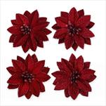 Poinsettia květ textil 4ks/10cm bordó - velkoobchod, dovoz květin, řezané květiny Brno