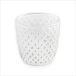 Svícen sklo pr.7V7,5cm bílá - velkoobchod, dovoz květin, řezané květiny Brno