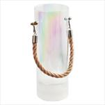 Svícen/váza sklo LED pr.9V25cm krém - velkoobchod, dovoz květin, řezané květiny Brno