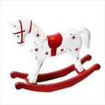 Houpací kůň dřevo 25cm bílá/červená - velkoobchod, dovoz květin, řezané květiny Brno