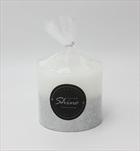 Svíčka Shine válec malý bílý - velkoobchod, dovoz květin, řezané květiny Brno