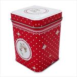 Plechová krabička 6x6x8,4cm Elegant red - velkoobchod, dovoz květin, řezané květiny Brno