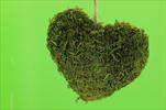 Mechové Srdce na Pověšení Zelená 20cm - velkoobchod, dovoz květin, řezané květiny Brno