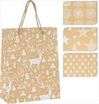 Taška vánoční bílo-zlatá mini - velkoobchod, dovoz květin, řezané květiny Brno