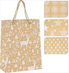 Taška vánoční bílo-zlatá malá - velkoobchod, dovoz květin, řezané květiny Brno
